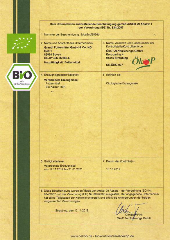 Bio Zertifikat ÖkoP