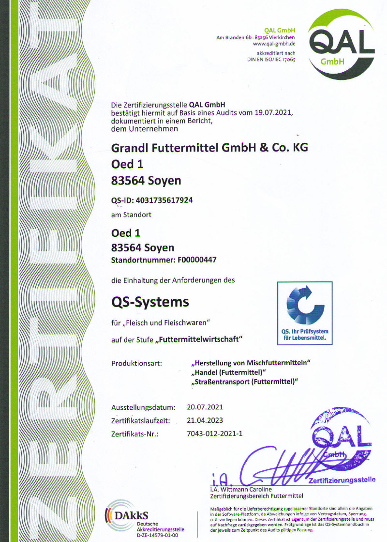 Grandl Futtermittel QS Zertifikat 2021 2023