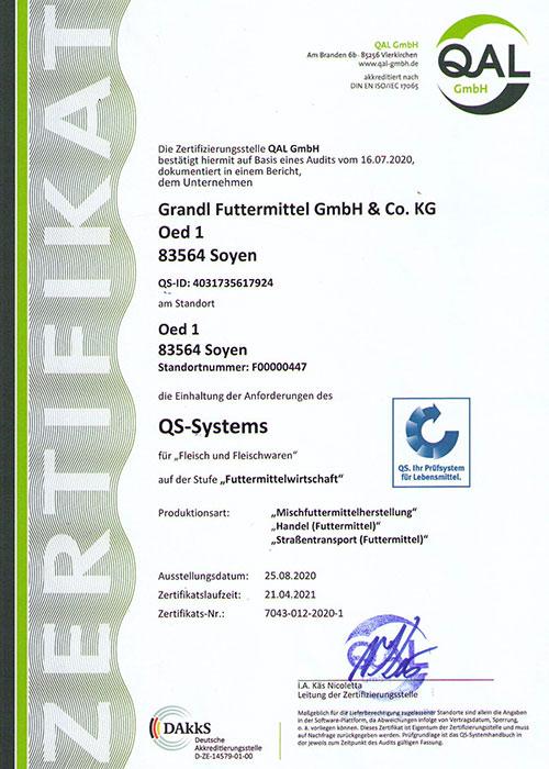 """QS-System"" (Mischfutterherstellung, Straßentransport) Zertifikat"